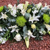 White lily & green shamrock bloom casket spray.
